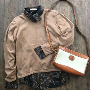 Orvis camel cotton cashmere blend sweater MP
